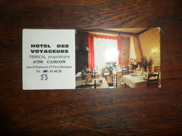 CV /    HOTEL DES VOYAGEURS  / CANCON - Visiting Cards