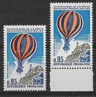 France 1971 - Variété - P A 45 Ballons Montés - Jaune-orange Déplacé  PA  Y&T N° 45 ** Neuf Luxe 1er Choix (TB). - Posta Aerea