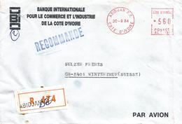 "Cote D'Ivoire Ivory Coast 1984 Abidjan Meter Satas ""L"" SL-101 EMA Registered Cover - Ivoorkust (1960-...)"