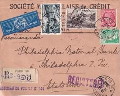 FRANCE 1949 DEVANT DE LETTRE RECOMMANDE DE PARIS TIMBRES PERFORES - France