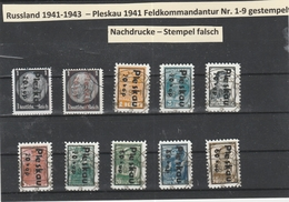 Russland  Pleskau 1941 - Michel Nr. 1-9 Gestempelt Fälschungen - Nachdrucke  - Stempel Falsch  - Wrong Stamp - Bezetting 1938-45
