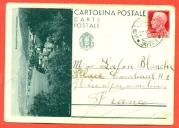 INTERI POSTALI I-CARTOLINE POSTALI-C91/22 -SORRENTO-DA SANTO STEFANO AL MARE PER LA FRANCIA- - 1900-44 Vittorio Emanuele III