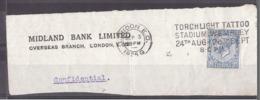 "Grande-Bretagne - 1925 - Flamme ""Torchlight Tattoo Stadium Wembley"" - Fragment Enveloppe Midland Bank - Storia Postale"
