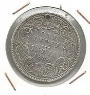 Monnaie , Inde , INDIA , 1884 , One ,1 Rupee , VICTORIA EMPRESS , Transformée En Médaille - Inde