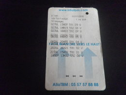 Ticket BORDEAUX TBM - Bus Tramway 10 Voyages (un Peu De Pli) - Tramways