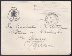 Belgique - Enveloppe Ministre De La Reconstitution Nationale (Cabinet) Obl. 1918 Pour Général Plantey Le Havre Special - Poste Militaire