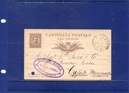 ##(DAN189)-1887-Cartolina Postale Cent.10 Mill.86 Filagrano C5 Da Limone Piemonte  Per Casale Monferrato - 1878-00 Umberto I