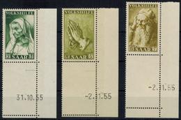 Saar 365-367 Br Volkshilfe Gemälde 1955 Bogenecke Eckrand Druckdatum Leerfeld  - Deutschland