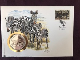 NUMISCOVER WWF : ENVELOPPE FDC NAMIBIA ET PIECE MEDAILLE UNC 30 ANS WWF - LE ZEBRE - W.W.F.
