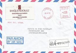"French Polynesie 1989 Papeete Meter Banque Indosuez Satas ""R"" SR 6182 EMA Registered Cover - Frans-Polynesië"