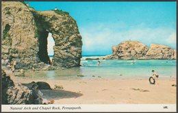 Natural Arch And Chapel Rock, Perranporth, Cornwall, C.1960s - Harvey Barton Postcard - England