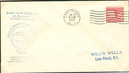 USA FDC 25-1-1932 With Blue Cachet - Winter 1932: Lake Placid
