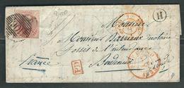 BELGIQUE 1862 N° 12 S/lettre Entière Pour Bordeaux - 1858-1862 Medallions (9/12)