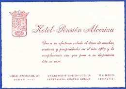Visit Card - Hotel Pensión  Alcoriza / Gran Via, Madrid - Espagne
