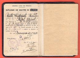 FRANC-MAÇONNERIE - GRANDE LOGE DE FRANCE - DIPLÔME DE MAÎTRE - 1938 - Religion &  Esoterik