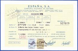Invoice/ Receipt - España, Compañia Nacional De Seguros, Madrid / Agencia Lisboa - 1977 - Espagne
