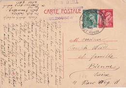FRANCE 1940  ENTIER POSTAL CARTE DE MULHOUSE POUR BIENNE - Entiers Postaux