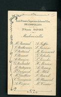 CARTE AVEC LA LISTE DES ÉLÈVES DE L'ECOLE PRIMAIRE DE JEUNES FILLES DE CHAROLLES  1912/1913 - Cartes