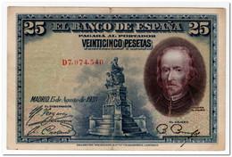 SPAIN,25 PESETAS,1928,P.74b,VF-XF - [ 1] …-1931 : Eerste Biljeten (Banco De España)