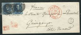 BELGIQUE 1851 N° 7 Paire S/lettre Entière  Pour Guingamp - 1858-1862 Medallions (9/12)