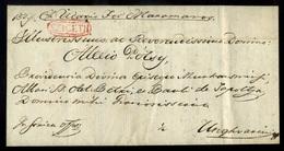 MÁRAMAROSSZIGET 1831. Szép Ex Offo Levél, Piros Bélyegzéssel Ungvárra Küldve  / 1831 Nice Ex Offo Letter Red Pmk Romania - Hungary
