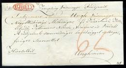 SÁTORALJAÚJHELY 1828. Hivatalos, Levél Ungvárra Küldve , Piros Bélyegzéssel  /  SÁTORALJAÚJHELY 1828 Official Letter To  - Hungary