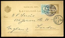 BUDAPEST 1893 Kiegészített Díjjegyes Levlap Londonba Küldve  /  BUDAPEST 1893 Uprated Stationery P.card To London - Hungary