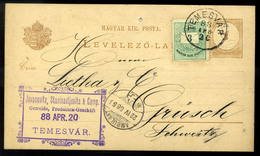TEMESVÁR 1888. Kiegészített Díjjegyes Levlap, Cégbélyegzéssel Svájcba Küldve  /  TEMESVÁR 1888 Uprated Stationery P.card - Postal Stationery