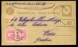 DARUVÁR 1886. Ajánlott, 5kr Párral Kiegészített Kétnyelvű Díjjegyes Levlap Bécsbe Küldve  /  DARUVÁR 1886 Reg. 5 Kr Pair - Croatia