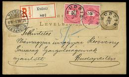 KUDSIR 1898. Ajánlott, 5kr Párral Kiegészített  Díjjegyes Levlap Budapestre Küldve  /  KUDSIR 1898 Reg. 5 Kr Pair Uprate - Postal Stationery