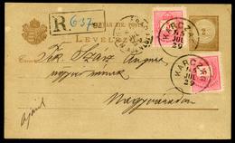 KARCAG 1885. Ajánlott, 2*5Kr-ral Kiegészített  Díjjegyes Levlap Nagyváradra Küldve  /  KARCAG 1885 Reg. 2*5Kr Uprated St - Postal Stationery