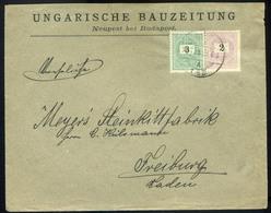 ÚJPEST 1899. Céges Levél Feketeszámú 3+2kr Ral Németországba  /  ÚJPEST 1899 Corp. Letter Black Number 3+2Kr To Germany - Used Stamps