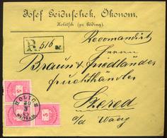 HOLICS 1883. Szép Ajánlott Céges Krajcáros Levél Szeredre Küldve  /  HOLICS 1883 Nice Reg. Corp Kr Letter To Szeged - Used Stamps