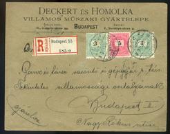 BUDAPEST 1899. Dekoratív , Helyi Ajánlott 5+2*3Kr-os Levél, Céges Levélzáróval  /  BUDAPEST 1899 Decorative Local Reg. 5 - Used Stamps