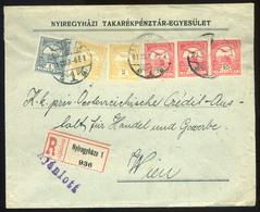 NYÍREGYHÁZA 1913. Dekoratív, Hatbélyeges,háromszínű Levél Bécsbe Küldve  /  NYÍREGYHÁZA 1913 Decorative 6 Stamp 3 Color  - Used Stamps