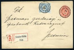 KRASZNABÉLTEK 1899. Feketeszámú 10Kr Ral Kiegészített Díjjegyes,ajánlott Boríték Szatmárra  /  KRASZNABÉLTEK 1899 Black  - Used Stamps