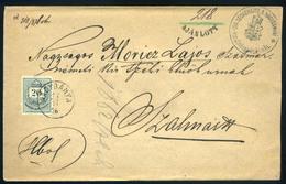 NAGYBÁNYA 1876. Dekoratív Ajánlott 20kr-os Végrehajtói Levél, Vakdombor Céges Nyomással Szatmárra Küldve - Used Stamps