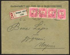 BUDAPEST 1890. Ajánlott Céges Levél 4*5kr Ungvárra Küldve , Céges Levélzáróval  /  BUDAPEST 1890 Reg. Corp. Letter 4*5Kr - Used Stamps