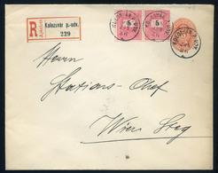 KOLOZSVÁR 1895. Ajánlott Kiegészített Díjjegyes Boríték, Pályaudvari Bélyegzéssel Bécsbe Küldve  /  KOLOZSVÁR 1895 Reg.  - Used Stamps