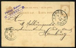 ESZÉK 1885. Díjjegyes Levlap, Luxus Kétnyelvű Bélyegzéssel, Céges Bélyegzéssel  /  ESZÉK 1885 Stationery P.card Bilingua - Used Stamps