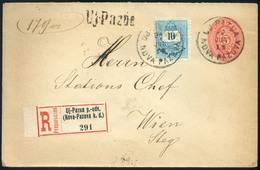 ÚJPAUZA 1897. Kiegészített Ajánlott Díjjegyes Boríték, Ritka Pályaudvari Bélyegzéssel Bécsbe  /  ÚJPAUZA 1897 Uprated Re - Used Stamps