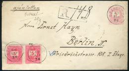 SZAKOLCA 1887. Szép Ajánlott, Kiegészített Díjjegyes Boríték Berlinbe Küldve  /  SZAKOLCA 1887 Nice Reg. Uprated Station - Used Stamps