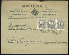 KŐBÁNYA 1891. Meduna J. Gőz-Szalámi Gyár, Szép Helyi Céges Levél 3*1kr.  /  KŐBÁNYA 1891 J. Meduna Steam-Salami Factory, - Used Stamps