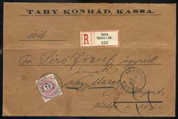 KASSA 1896. Ajámlott Levél 15kr Budapestre,továbbküldve Nagymarosra  /  KASSA 1896 Reg. Letter 15 Kr To Budapest, Forwar - Used Stamps