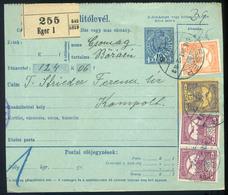 EGER 1916. Háromszínű Csomagszállító Kompoltra Küldve  /  EGER 1916 3 Color Parcel P.card To Kompolt - Parcel Post