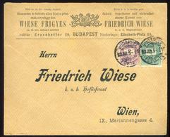 BUDAPEST 1893. Dekoratív, Krajcáros Céges Levél Bécsbe Küldve  /  BUDAPEST 1893 Decorative Kr Corp. Letter To Vienna - Used Stamps