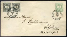 BUDAPEST 1889. 1Krpárral Kiegészített 3kr Díjjegyes Boríték Németországba Küldve. Szép Darab!  /  BUDAPEST 1889 1 Kr Pai - Used Stamps