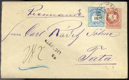 RÉVKOMÁROM 1876. Kiegészített Ajánlott Díjjegyes Boríték Tatára Küldve  /  RÉVKOMÁROM 1876 Uprated Reg. Stationery Cov.  - Used Stamps