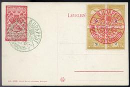 BUDAPEST 1909. Országos Bélyegkiállítás Képeslap,piros Alkalmi Bélyegzéssel  /  BUDAPEST 1909 Nat. Stamp Expo Vintage Pi - Used Stamps