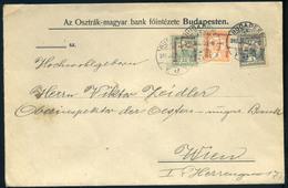 BUDAPEST 1916. Banklevél, Hadisegély Háromszínű Bérmentesítéssel Bécsbe Küldve  /  BUDAPEST 1916 Bank Letter Military Ai - Used Stamps
